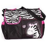 Accessotech Waterproof Baby Diaper Nappy Mummy Changing Handbag Shoulder Bag with Mat Travel (Zebra Pink)