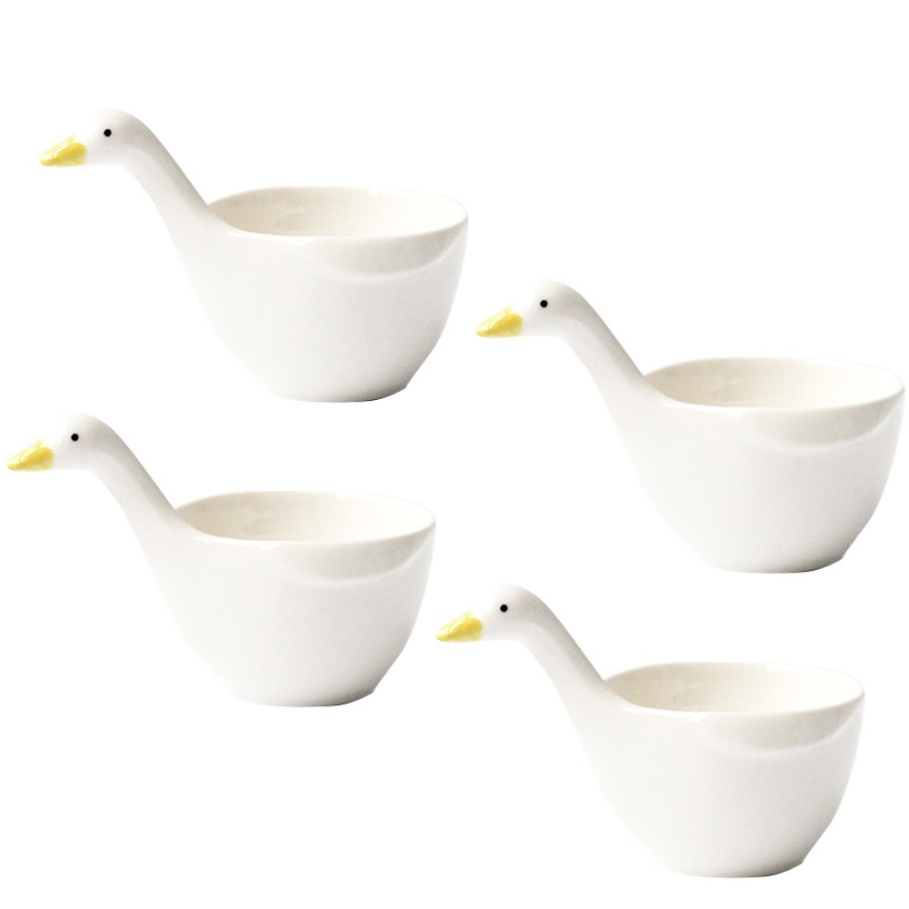 WAIT FLY 4pcs Cute Duck Shape Ceramic Dessert Bowls/ Seasoning Dishes/ Dipping Bowls/ Ketchup Saucer/ Tea Bag Holders for Salad Pudding Yogurt Best for Home Kitchen