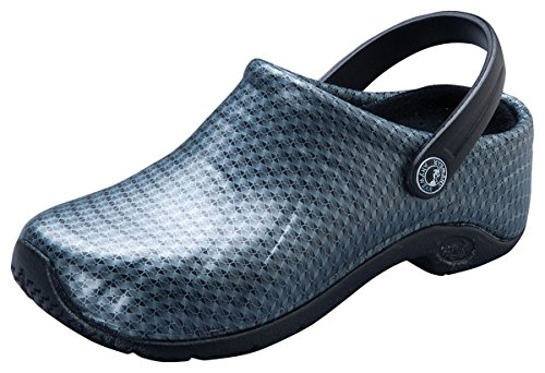 - Anywear Unisex Anywear Injected Clog w/Backstrap_Black Silver Pattern_9,ZONE