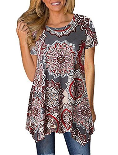 Halife Womens Summer Short Sleeve Floral Print Loose Fit Tunic Tops (M, (Cotton Short Sleeve Leggings)