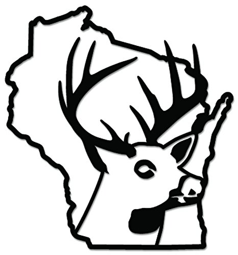 Deer Buck Hunting Wisconsin State Vinyl Decal Sticker For Vehicle Car Truck Window Bumper Wall Decor - [8 inch/20 cm Tall] - Matte WHITE Color