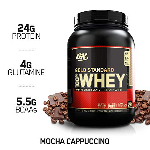 OPTIMUM NUTRITION GOLD STANDARD 100% Whey Protein Powder, Mocha Cappuccino, 2 Pound (Best Milk To Use With Whey Protein)