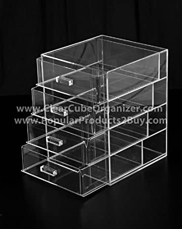 Amazoncom Acrylic Clear Cube Makeup Organizer Drawers Display - Acrylic cube makeup organizer with drawers