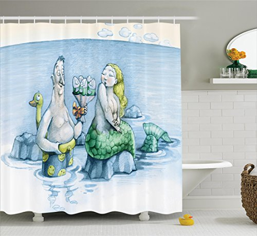 Ambesonne Mermaid Decor Collection, Funny Man Gives a Mischievous Mermaid A Bouquet of Flowers Made from Fish Image, Polyester Fabric Bathroom Shower Curtain Set with Hooks, Teal Green Mustard