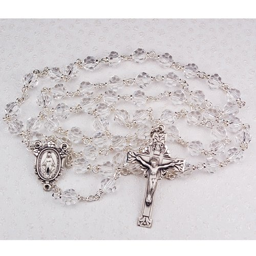 Sterling Silver 7MM Crystal gemstone TINCUT ROSARY in gift box