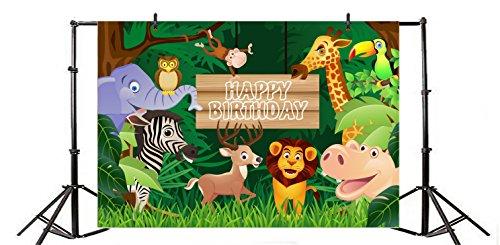 ec4b2016980f6 Yeele 8x6ft Happy Birthday Party Backdrop Vinyl Cute Animal Jungle ...