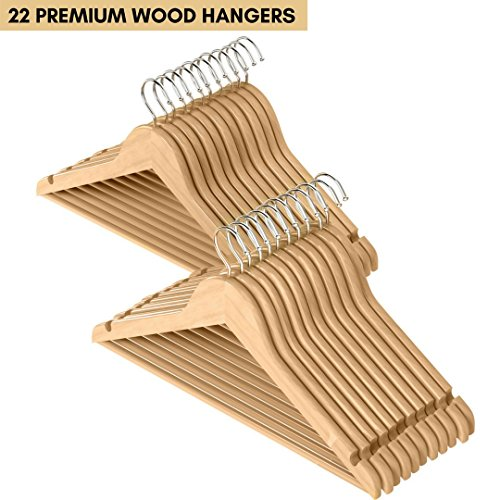 Hook Prince Suit (22 Pack Premium Quality Solid Wood Suit Hangers with Non Slip Bar and Precisely Cut Notches - Natural Finish Super Sturdy and Durable Wooden Hangers - 360 Degree Swivel Chrome Hook)