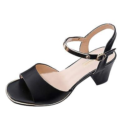 b4d58176bdd62c Femme Été Sandales à Talon Carré, Chaussures à Haut Talon de 6cm pour  Mariage Soirée