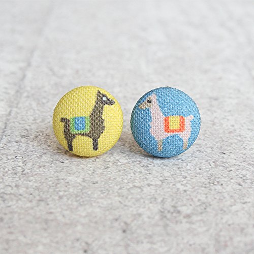 Llama Fabric Button Earrings ()