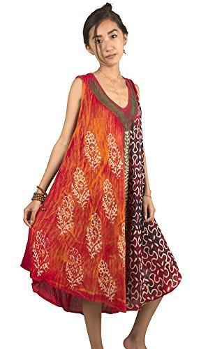 Tribe Azure Women Floral Dress Red Loose Medium Length Comfortable Shift Sleeveless Casual Fashion Boho Hippie Summer Beach - Fashion Summer Hippie