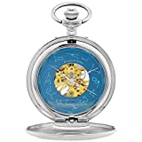 Ks Half Hunter Mens Constellation Markers Mechanical Skeleton Pocket Watch Silver KSP098