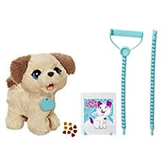 Meet Pax, My Poopin' Pup toy! It's so much fun to take care of him like a real puppy. Push forward on his leash to take him for a walk. He can make happy puppy sounds when he's fed one of his treats – then sit him down to do his business. Pul...