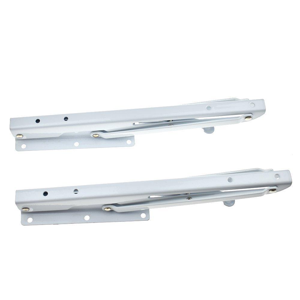 2 Pcs Sturdy Folding Shelf Brackets White Hinge Wall Mounted Metal Triangle Table Bench Folding Shelf Bracket (12 Inch) by YOMNEE (Image #6)
