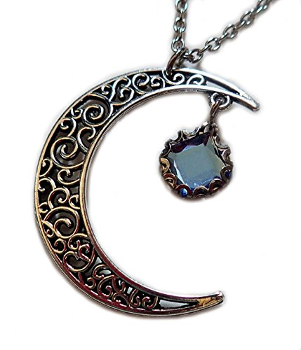 Silver Filigree Crescent Moon Pendant Light Sapphire Blue Rhinestone - Renaissance Outdoor Pendant