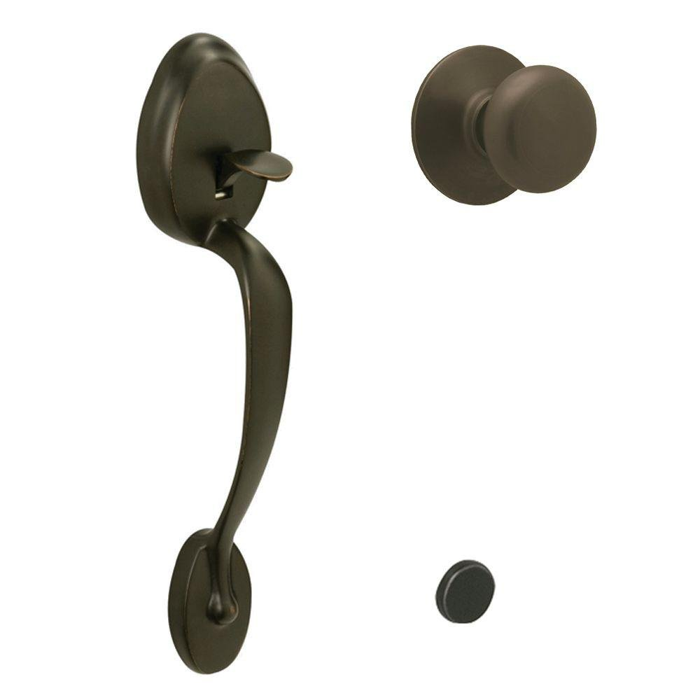 Oil-Rubbed Bronze Schlage Lock Company Plymouth Front Entry Handle Plymouth Interior Knob FE285 PLY 613