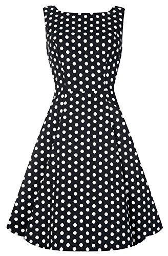 Polka mit Collectif Dots Damen Schwarz Swing Dots Dress Weißen Kleid Hepburny Punkte wIzIrS