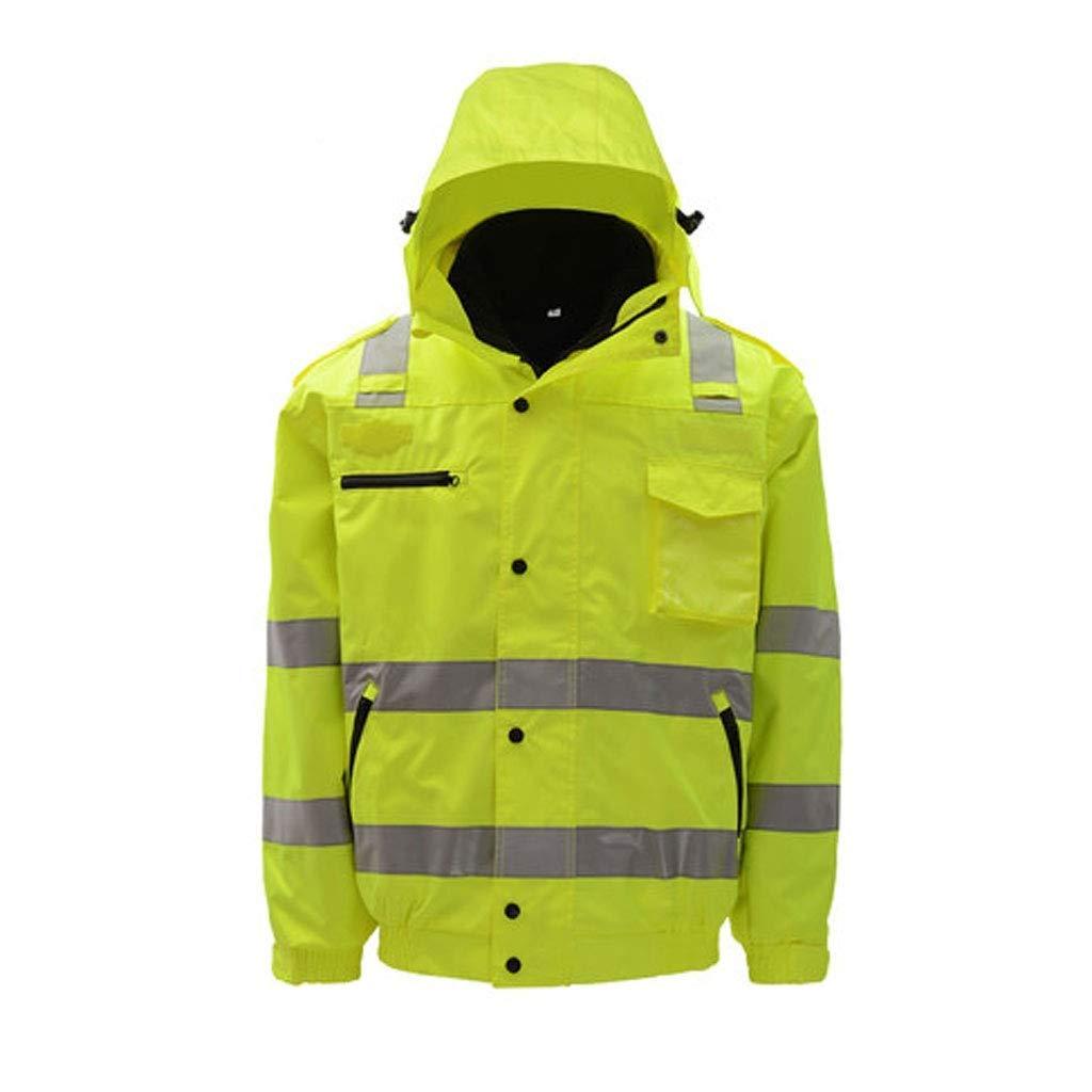 ZHF-Rainwear Hi Vis Visibility Safety Work Clothing Reflective Clothing-Reflective Cotton Coat Traffic Road Highway Road Cotton Jacket Jacket Men's Jacket Safety Coat Overalls (Size : X-Large)