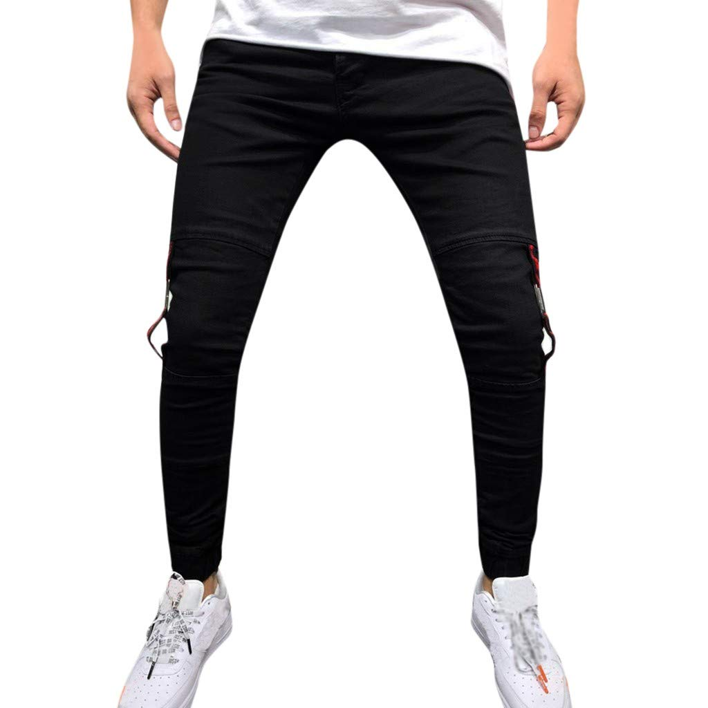 YKARITIANNA Men's Fashion Denim Cotton Straight Pocket Trouser Distressed Jeans Long Pant 2019 Summer Hot Sale
