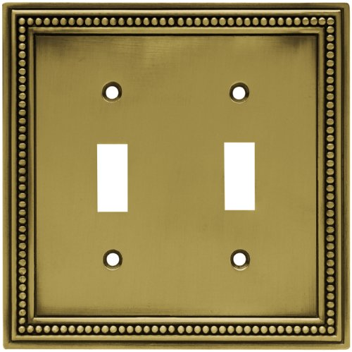 Brainerd 64771 Beaded Double Toggle Switch Wall Plate / Switch Plate / Cover, Tumbled Antique Brass