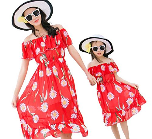 Mommy and Daughter Summer Floral Sleeveless Dress Chiffon Family Clothing Beach Mother Me Parent-Child Outfits (Girls B, Size (Family Holiday Clothing)
