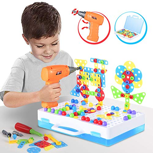Kunmark Building Block Games Set with Toy Drill & Screwdriver Tool Set | Educational Building Blocks Construction Games| Develop Fine Motor Skills - Best Kids Toys for Boys & Girls (Best Electric Screwdriver 2019)