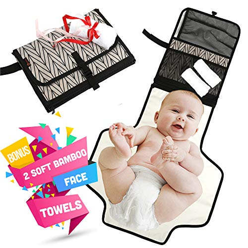 Portable Diaper Changing Pad by Bestonicle   Bonus – 2 x Luxury Soft Bamboo Face Towels   Waterproof Foldable Mat with Head Cushion – Diaper Changing Kit – Perfect Gift Travel Bag Newborn and Toddler