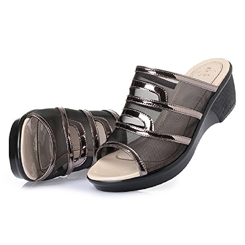 Mode Sandales Compensées Compensées Pour Les Femmes Fond Épais Anti-dérapant Diapositive Imperméable Respirant Noir