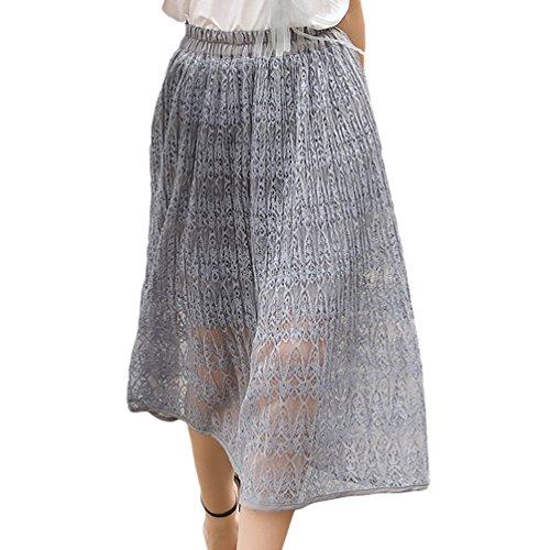 YuanDian Femme Ete Casual Dentelle Taille Elastique A-line Fluide Maxi Jupe Couleur Unie Style Doux Elegante Swing Longue Jupes Vert Clair