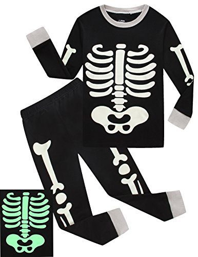 Toddler Halloween Shirts (Boys Halloween Pajamas Skeleton-Glow-in-the-dark Shirts Toddler Pjs Kids Clothes Sleepwear Size 9T)