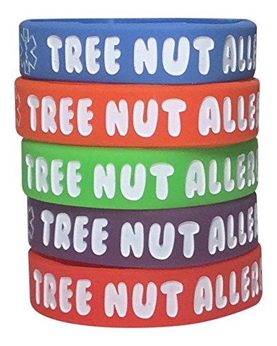 Allergy Tree Nuts - Tree Nut Allergy Bracelet Kid's Silicone Medical Alert Band (Pack of 5) Red, Orange, Blue, Purple, Green (6 inch)