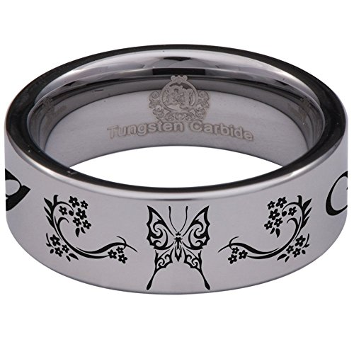 Silver Tungsten Carbide Celtic Butterfly Ring 8mm Wedding Band Anniversary Ring for Men and Women Size 9