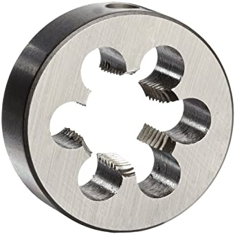 """Union Butterfield 2010(NPT) Carbon Steel Round Threading Die, Uncoated (Bright) Finish, 3/8""""-18 Thread Size"""