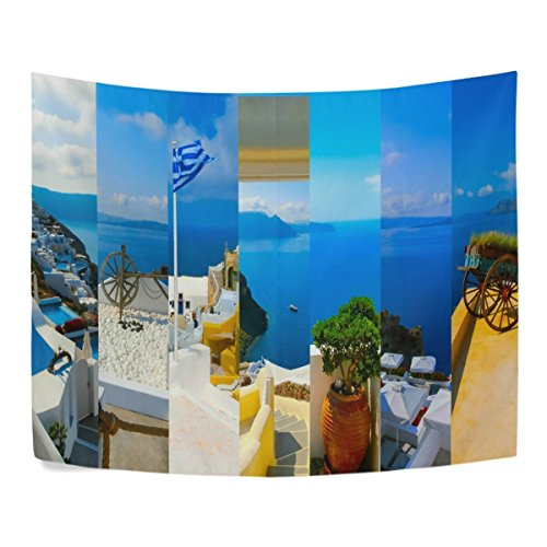 Santorini Stripe - Grid Stripes Style Santorini Greece Island Polyester Dorms Decor Tapestry Horizontal Large 51x60 Inch Home Decorate