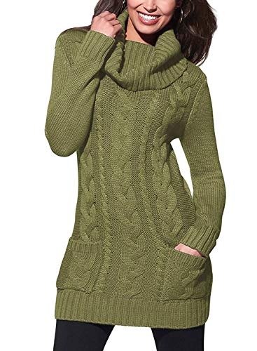 BLENCOT Ladies Womens Long Green Sweaters High Neck Elasticity Slim Fit Solid Ribbed Cable Knit Pullover Sweaters Dress Jumper Large (Boots Sweater Dresses)