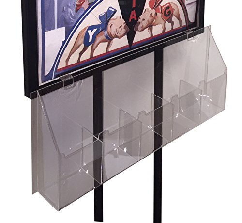 """5 Pocket Clear Acrylic 4"""" x 9"""" Inch Tri-Fold Brochur, Literature and Pamphlet Holder for Metal Sign Stands, Bulletin Holders and Poster Stands"""