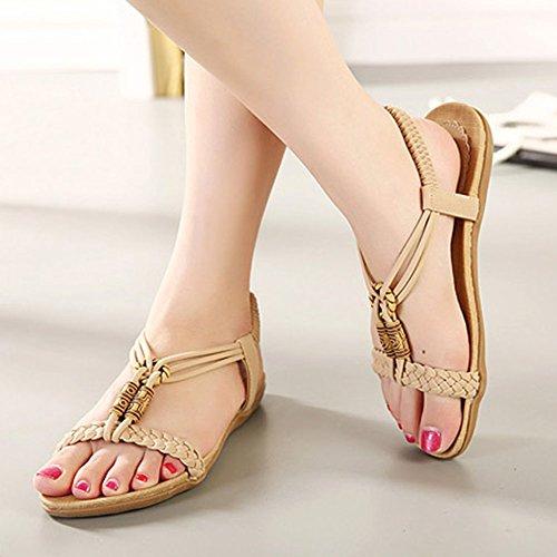 Bohemia Planas Sandalias para mujer Talla Grande Zapatillas Chancletas De Playa Rebordeado Romanas Zapatos Albaricoque