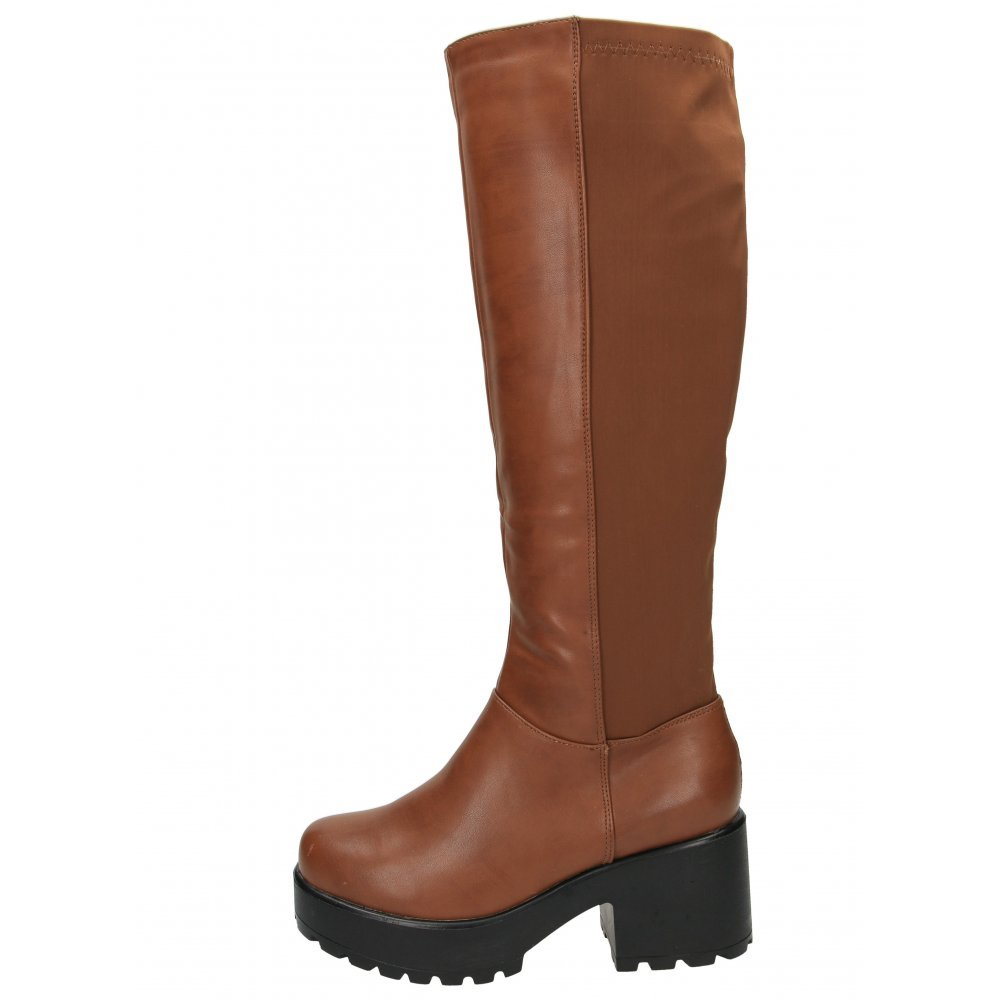 821eafef741d Koi Couture Chunky Heel Platform Goth Punk Knee High Mid Lycra Stretchy  Boots 5 UK Brown  Amazon.co.uk  Shoes   Bags