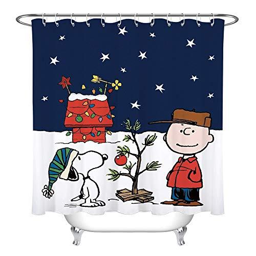 Anferstore Custom Merry Christmas Curtain with Hooks, Cartoon Waterproof Bathroom Shower Fabric 66 x 72(Treated to Resist Deterioration by Mildew)