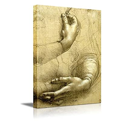 Study of Arms and Hands by Leonardo Da Vinci - Canvas Print Wall Art Famous Oil Painting Reproduction - 24
