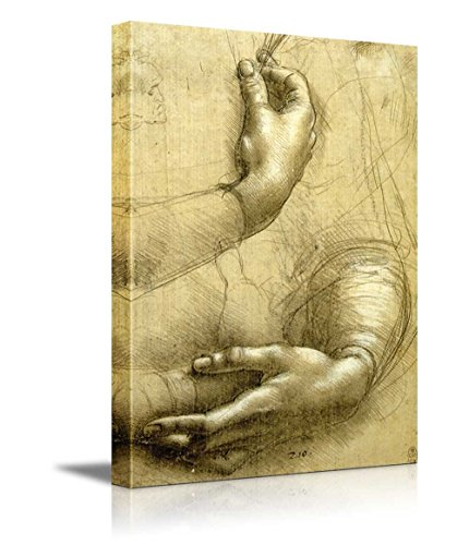 wall26 - Study of Arms and Hands by Leonardo Da Vinci - Canvas Print Wall Art Famous Oil Painting Reproduction - 12