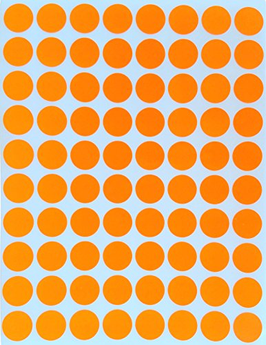 "Color Coding Labels 1/2"" Round - Dot Stickers -- Half inch rounds ORANGE sticker -- 1200 pack"