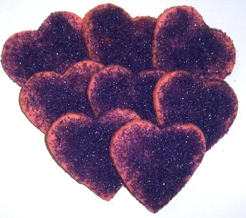Scott's Cakes Mini Pink Heart Shaped Sugar Cookies with Purple Sugar in a 1 Pound Clear Cello Bag