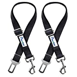 Cheap Pawaboo Pet Car Seat Belt, 2 Packs Universal Adjustable Durable Nylon Safety Leash Leads Vehicle Auto Seatbelt Harness Travel Strap with Safe Buckle for Dog Cat, Large Size(19.68-32.28 inch), Black