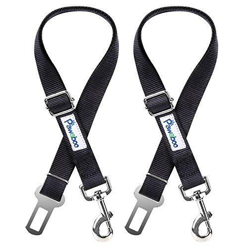 Pawaboo Pet Car Seat Belt, 2 Packs Universal Adjustable Durable Nylon Safety Leash Leads Vehicle Auto Seatbelt Harness Travel Strap with Safe Buckle for Dog Cat, Large Size(19.68-32.28 inch), Black
