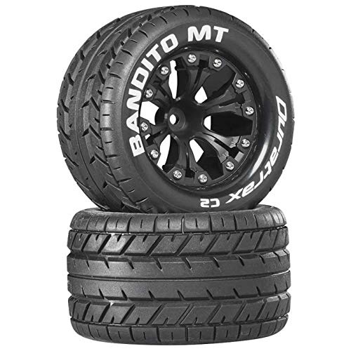 """Duratrax Bandito Mt 2.8"""" Rc Monster Truck Tires With Foam Inserts, C2 Soft Compound, Mounted On 12"""" Offset Black Wheels (Set Of 2)"""