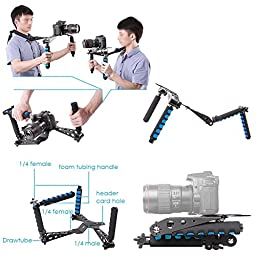 Neewer Aluminium Alloy Foldable DSLR Rig Movie Kit Film Making System Shoulder Mount Support Rig Stabilizer for Canon Nikon Sony Fujifilm Olympus Digital SLR Cameras and Camcorders