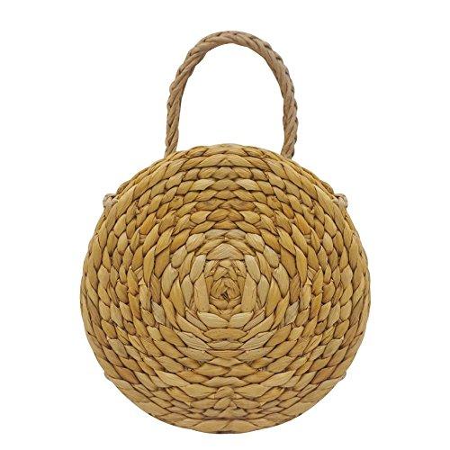 Bolsa de redondo bolsa ratán bolsa de playa redondo Mujer Gran pajita tejeduría a mano Round playa de paja hombro bolsa de almacenamiento Diagonal con tres utilisations-fancylande