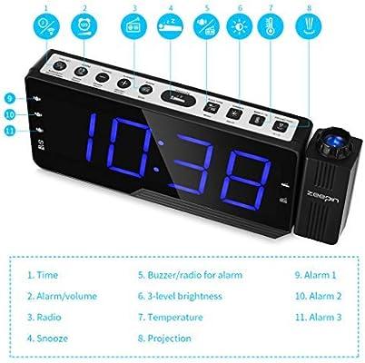YJSMXYD Despertadores Electrónicos,Proyector Digital Radio Reloj ...