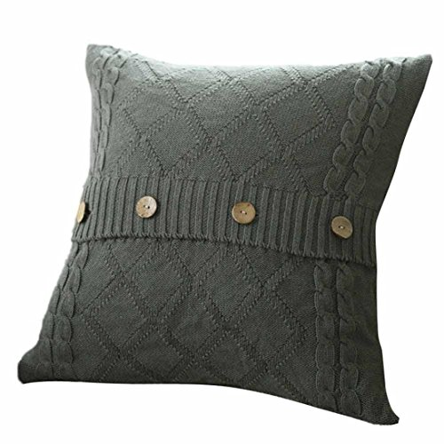 Challyhope Fashion Knitted Button Decor Cable Knitting Patterns Throw Pillow Cases Cushion Shell Cafe Sofa Home Decor (45cm X 45cm, Dark Gray)
