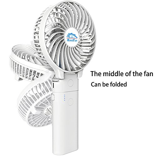 HandFan Portable Handheld Fan, Mini Hand Fan/Small Desk Fan Folding Change 5-18 Hours Working Time Personal Fan Rechargeable Battery/USB Operated Electric Fan Handle is 5200mA Power Bank(Power White) by HandFan (Image #3)